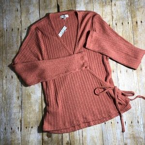 Madewell wrap ribbed long sleeved top